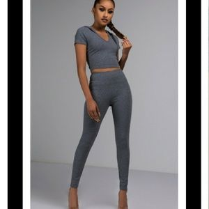 Two piece crop top hoodie set